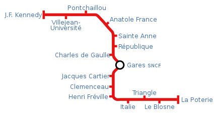 Plan métro Rennais - Rennes subway map