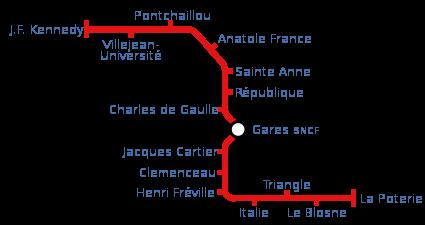 Plan métro Rennais - Rennes subway map