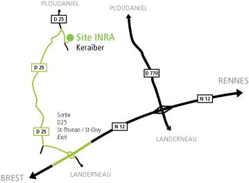 Plan d'accès à l'implantation IGEPP de Ploudaniel