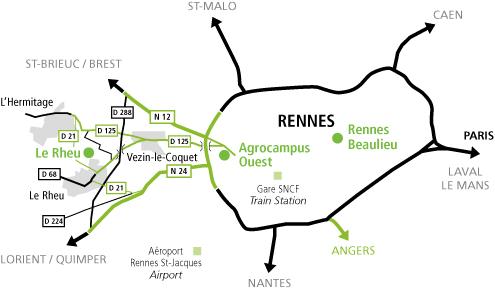 Plan d'accès des implantations IGEPP autour de Rennes