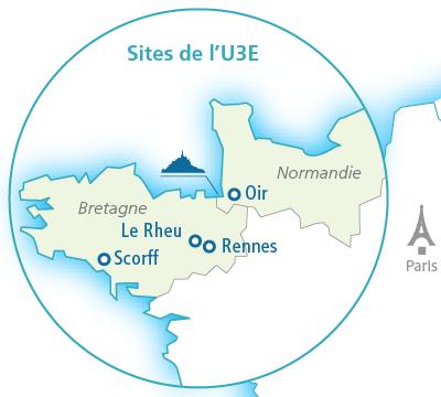 Localisations de l'Unité expérimentale d'écologie et d'écotoxicologie aquatique